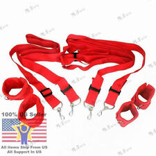 Red Bondage Fetish Restraints Under Bed Cuffs Set Sexual Adult Strap System Sex