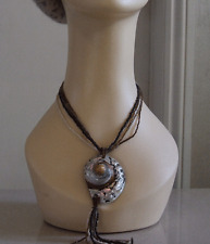 Delightful Multi Strand Beaded Vintage Necklace with Swirl Mother of Pearl Shell