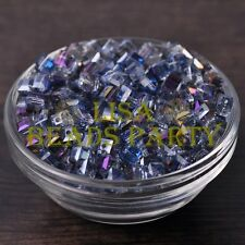 25pcs 6mm Cube Square DIY Crystal Glass Loose Spacer Beads Purple Colorized