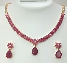 Indian Ethnic Fashion Jewelry Necklace Set Red CZ AD Stone Gold Silver Plated