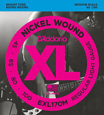 D'Addario EXL170M  XL NICKEL BASS STRINGS, MEDIUM SCALE, REGULAR 4's - 45-100