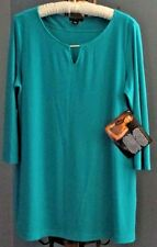 NEW IMAN Global Chic Luxury Resort Tunic Top 3/4 Sleeve Turquoise Green Large