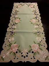 "16""x54""Embroidered Table Runner Pink Rose Floral Tablecloth Home decor"