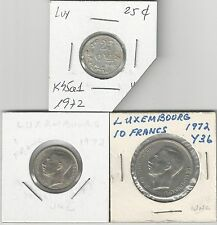 xx From Accumulation - 3 COINS.LUXEMBOURG.25 CENTIMES and 1 & 10 FRANC..ALL 1972