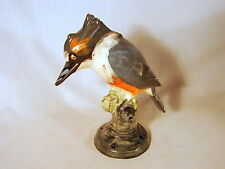 Old ca. 1915 Weller Brighton Kingfisher 9in Figural Flower Frog, Excellent Cond.