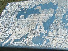 Vintage Blue Damask Bedspread w Art Nouveau Ladies & Roses Tassel Fringe