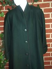 EXCELLENT Womens MDB Mario de Pinto Forest Green Long Coat Made in USA Large