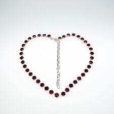 Damen Kette Collier Tennis 925 Versilbert mit Swarovski Kristallen Rot
