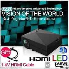 100%ORIGINAL GM60 LED Projector, native 800x480p HDMI,VGA,AV,1000Lumens, 3D, USB