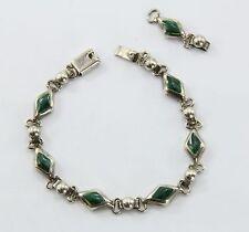 Vintage Sterling Silver & Malachite Taxco Mexico Bracelet