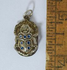 Vintage STERLING SILVER & ENAMEL SCARAB CHARM PENDANT EGYPTIAN