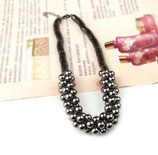 New Fashion Women Jewelry Multilayer Silver Black Beads Pendent Chain Necklace