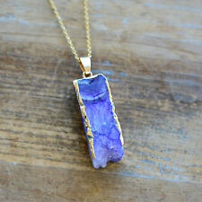 Square Column Purple Druzy Necklace Agate Pendant w/ 24K Gold Edge Plating Chain