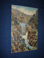 Vintage 1940s Linen PC Highway & Dam Shoshone Canyon On Cody Highway