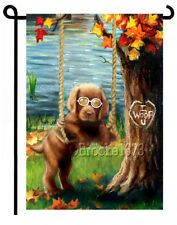 Chocolate Lab Brown Labrador Retriever painting GARDEN FLAG Dog PUPPY ART AUTUMN