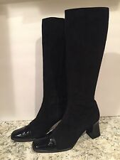 Escada Knee High Boots Tall Suede Patent Leather Heel Zip Cap Toe Black 8.5 B