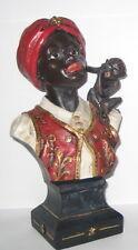 Afrikaner mit Äffchen Büste, im Nostalgie-Antik-Stil, Kunststein, Höhe 21cm