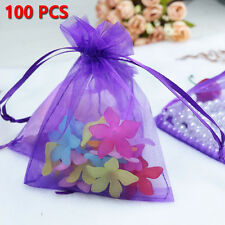100pcs 10x15cm Drawstring Organza Pouch Strong Wedding Favor Gift Candy Bag ON
