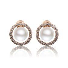 18K Gold filled sparking hoop Sapphire elegant pearl stud earrings!
