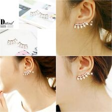 New Fashion Ear Stud Earrings 18K Silver Plated Crystal Rhinestone Jewelry