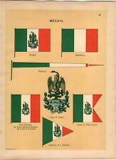 1899 Mexico Ensign Coat Of Arms Captain Frigate Pennant Maritime Ship Flag PRINT