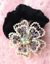 ConMiGo HR0078 purple and pinik crystals, sequins and peals flower scrunchie