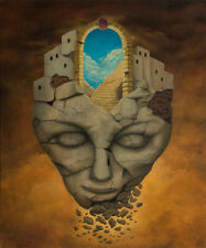 Rock Head Gate City Fantasy Surrealism Original Oil Painting by Mag Raven 30x36""