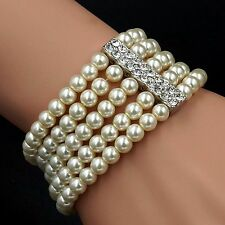 New Gorgeous Cream White Glass pearl Multi-Strand Stretch Bracelet 7168 Crystal