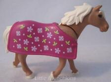 Playmobil Farm/Stables extras: Light brown horse with pretty blanket NEW