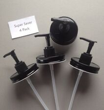 Super Saver 4 Pack Mason Jar Soap/Lotion Dispenser Lids w/ Pumps.  All Black