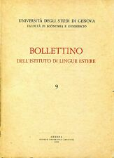 Università Studi Genova BOLLETTINO DELL'ISTITUTO DI LINGUE ESTERE N.9  1970-72