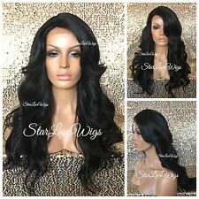 Long Full Wig Loose Wavy Bangs Layers Jet Black #1 Heat Safe Ok