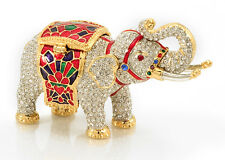 Miniature Elephant Jeweled and Enamel Trinket Box