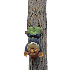 Upside Down Swinging Gnome Garden Tree Sculpture Woodland Acrobat