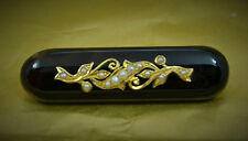 "superb Victorian 2"" Faux tortoiseshell morning brooch gold mounted seed pearls"