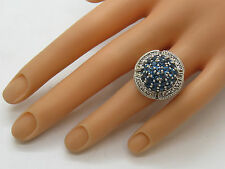 JTV Sterling Silver .925 Round Blue White Topaz Cluster Gemstone Ring Size 6.5