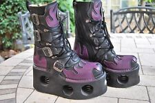 New Rock Neptuno Spring Punk Goth Flame Purple Black Leather Boots 5 38