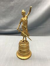 "Vintage Folk Art Brass Bell ~ Lady Of Justice Statue  10 1/2"" Tall"