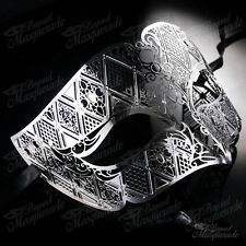 Mens Unisex Filigree Light Metal Venetian Masquerade Prom Ball Mask [Silver]
