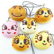 5cm Cute Expression Soft Squishy Charm phone Cartoon Face Cookie Bread Straps