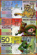 POLYMER SET, Kamberra  50;50;50 China 2010-2012-2013 UNC   Tiger Dragon Snake
