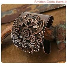 STEAMPUNK Lg Antiqued Copper GEARS Bracelet CUFF Costume Prop Wrist or Upper Arm