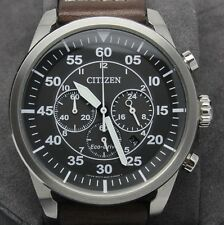 Citizen Eco Drive Avion Pilots Style Chronograph Steel Mens Watch 45mm B620 Box