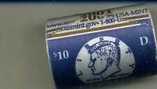 2001 D $10 KENNEDY HALF DOLLAR GOVERNMENT WRAPPED ROLL BU