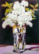 ACEO OIL PAINTING WHITE LILACS IN TALL GLASS        BY BRADBERRY