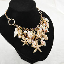Womens Chunky Gold Beach Sea Shell Starfish Pearl Bib Statement Summer Necklace