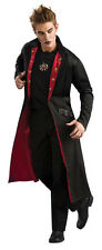Mens DELUXE Vampire Coat Long Overcoat Trench Costume Red Black Adult Jacket NEW