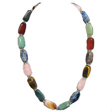 Genuine Jade Carnelian Tigers Eye Lapis Rose Quartz Silver Flower Bead Necklace