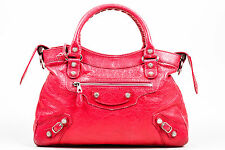 "Balenciaga $1795 Pink 'Rose Thulian' Leather Silver Tone Studded ""Town"" Handbag"