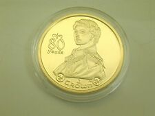 2006 Isle of Man 80 years 28 grams silver proof one crown coin gold plate